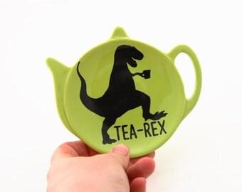 T Rex, teabag holder, tea-rex, pottery and ceramic, gifts under 10, green,  spoonrest, or tea bag holder