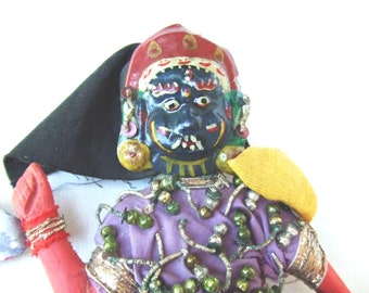Primitive Nepal Deity Doll Wood with Metal Mask 1930s