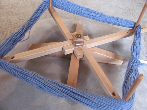 Yarn Swift -Unique Compact size - Made with repurposed wood-Cherry