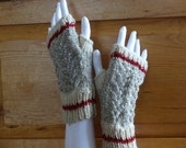 Medium Lace Beige Ragg Worksock Texting Mitts, Fingerless Gloves, Miller's Mitts