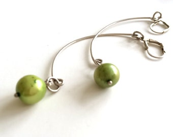 Green Pearl Sterling Silver Dangle Wire Earring