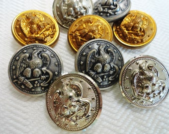 Eagle Vintage Metal Buttons - 6 Large Military for Coat Blazer Sewing Knitting Jewelry Beads 1 inch