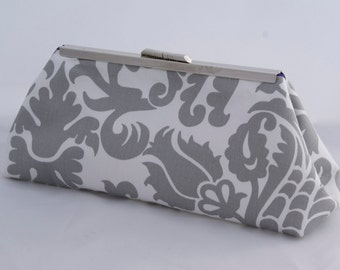 ON SALE Gray and White Floral Handbag Clutch