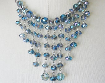 Glass Fringe Necklace AB Blue Green Purple Faceted Stones Coutour Cascading