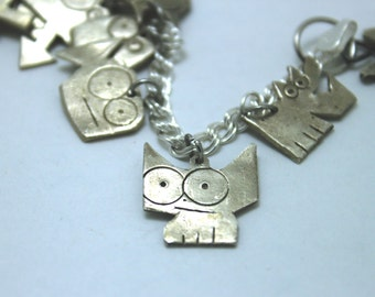 Sterling Silver Cat Charm: Big-Eyed Tilly