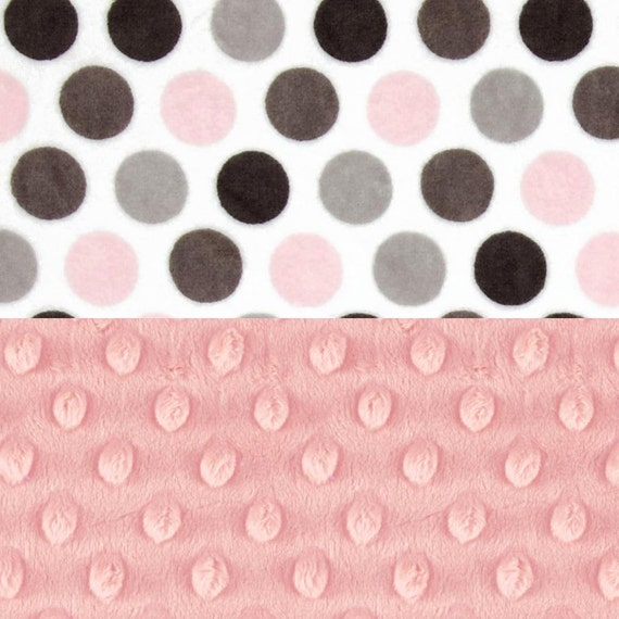 Pink Minky Baby Blanket Girl, Pink Gray Dots Personalized Baby Blanket, Pink Gray Blanket // Girl Nursery, Baby Gift, Name baby blanket