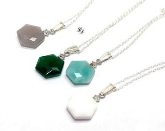 "Necklaces - Sterling silver, Agate, Amazonite, CZ ""Edge"" handmade, elegant, modern, fashion, minimalist, gem, sektagon - Free shipping!"