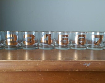 ON SALE-20% OFF Set of 8 Vintage Tumbler Glasses with Gold Numbering