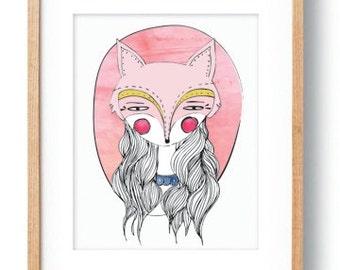 Giclee Print Wall Art Decor Whimsical Art Print Woodland Poster Girl's Room Wall Art Poster Pink Yellow Fox Girl Portrait Kids Room Decor