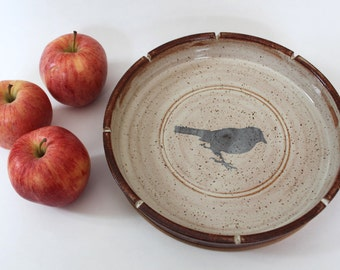 Ceramic  Pie Plate  with Black Bird  - Serving Dish  in Creme and Brown Ready to Ship