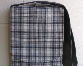 Grey & Black Plaid Wool Messenger Bag