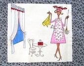 Vintage Novelty Fabric Housewife Husband FUNNY Cartoons Jacques Charmoz