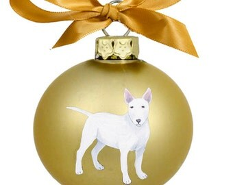 Miniature Bull Terrier Dog White Hand Painted Christmas Ornament - Can Be Personalized with Name