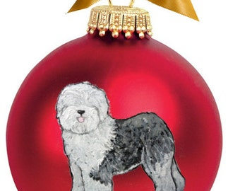 Old English Sheepdog Hand Painted Christmas Ornament - Can Be Personalized with Name