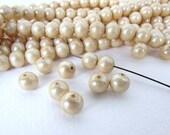 Vintage Japanese Beads Dark Ivory Pearl Beige Tan Glass Rounds 8mm vgb0828 (10)