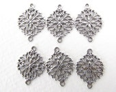 Antiqued Silver Ox Oval Flower Filigree Connector Finding Plated Brass 17mm flg0070 (4)