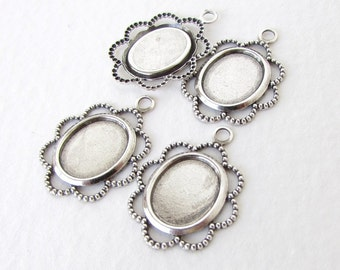Filigree Cameo Setting Antiqued Silver Ox Lace Edge Dotted Bezel 10x8mm Cabochon set0313 (6)