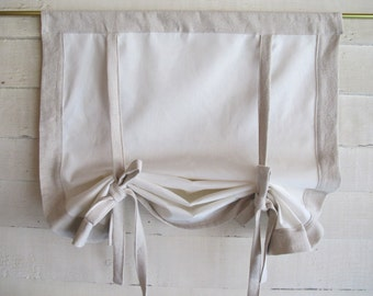 "Cotton Canvas 48"" Long Stage Coach Blind Swedish Roll Up Shade Tie Up Curtain Swag Balloon"
