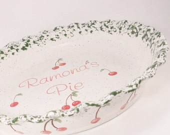 Cherry Pie Plate - Personalized Pie Plate - Ceramic Cherry Pie Dish - Deep Dish Bakeware - Personalized Baking Dish - Hand Painted Plate