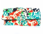 fabric watch roll - vintage floral in teal and orange