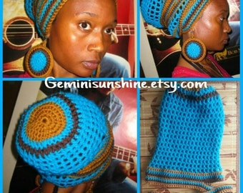 Turquoise Chocolate Honey Crochet Headwrap and Earrings