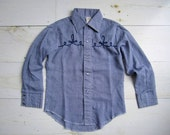 Vintage Boys' Western Style Button Up Shirt. Size 5/6