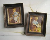 "Vintage Small Gretchen & Gary Framed Prints . Small 6"" x 7"" Size"