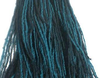 Blue Black Micro Dreadfalls 50ct Double Ended Dread, Hair Extensions Raver Hair