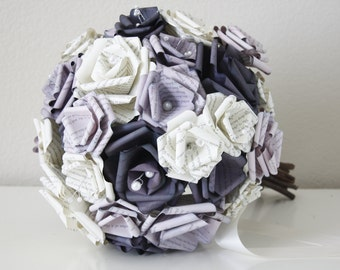 A Paper Bouquet- Purple Themed Book Page Bouquet - A Book Bouquet Customized to Your Colors, No Book Preference