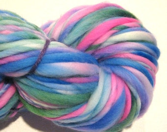 Handspun Yarn Miss Rumphius 64 yards hand dyed merino wool blue green pink yarn waldorf doll hair knitting supplies crochet supplies