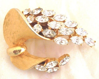 Vintage Brushed Gold Tone Rhinestone Pin by BSK