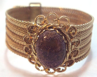 Vintage Mesh Buckle Bracelet with Purple Agate Stone