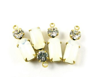 2 - Vintage Glass Octagon Stone and Round Rhinestone in 1 Ring 2 Stones Brass Settings - Opal White & Crystal Clear - 18x6mm
