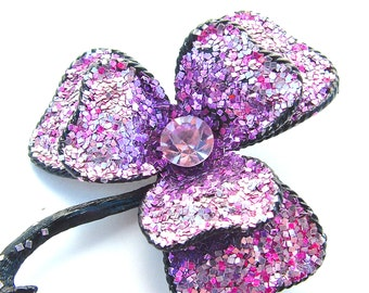 Shimmer Ombre Amethyst Lavender Purple Glitter Flower Rhinestone Floral Jewelry Pin