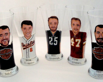 Cool Groomsmen Gifts Five Personalized Painted Pilsner Beer Glasses (5) Portrait Pub Glasses