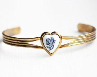 Blue Flower Heart Cuff Bracelet