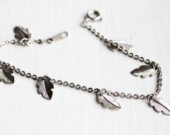 Silver Leaf Chain Bracelet, Leaf Bracelet, Silver Leaf Bracelet