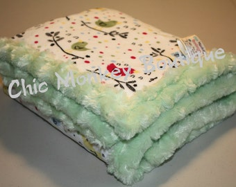 Cute Minky Blanket with Birds.. Can be personalized and Customized