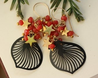 Black Lily Petals with Fuchsia Red Jade Earrings, Abstract Fashion Jewelry, Black and Red, Gypsy Style, Gold Stars Earrings
