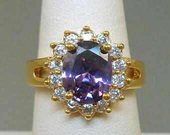 14K GF Purple Rhinestone Ring