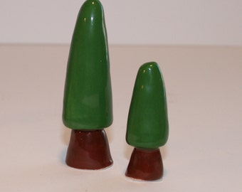 Clay Trees   Set of 2 Mini Trees   Green Trees   Ceramic Trees   Little Trees   MADE TO ORDER   You Choose Your Color Green