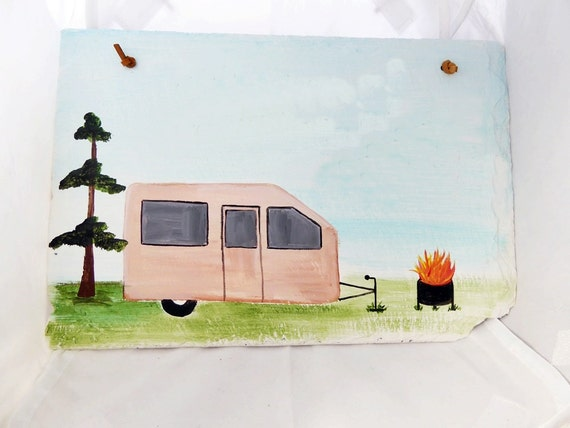 Custom camper, camping, outdoor campsite sign, personalize, name, lot number, greeting