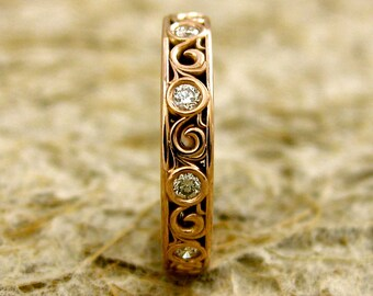 Elegant Diamond Scroll Wedding Ring in 14K Rose Gold Size 5.25
