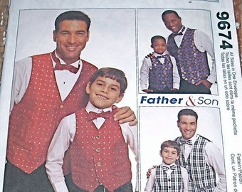Pattern Vest Father Son Bow Tie McCalls 9674 Uncut Easy Twins Dress Alike All Sizes Sew Sewing Handmade Dress Up Holiday Clothing