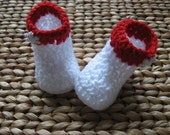 Crochet Baby Boots Booties - White and Red Christmas Winter Snowflake 6-9 Months - free shipping included
