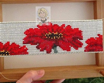 Gerbera Daisy Patch Bead Loom Cuff Pattern
