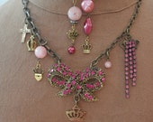 It's Good to be Queen Pink Necklace and Earring Set