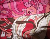 Retro Mod Polyester Knit Blend One way Stretch Fabric 1970's Style Pinks and Swirls