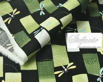 Traditional Flying Yellow Blue Dragonfly On Checks, Green Colorway-Japanese Cotton Fabric (Fat Quarter)
