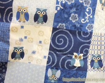 SALE Clearance Japanese Traditional Cherry Blossom Plum Floral Geometry Ocean Wave Hoot Owl Check Patchwork - Cotton Fabric (Fat Quarter)